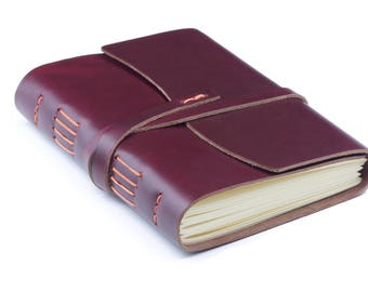 Leather Notepad А5 Burgundy Orange