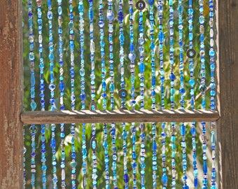Beaded curtain,Glass prisms-Handmade curtain-beaded door curtain-hanging door bead-beaded wall hanging-bohemian wall art-hippie bead curtain