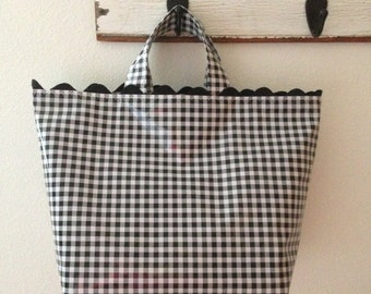 Beth's Medium  Gingham Oilcloth Business Tote with Black Rick Rack Trim