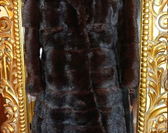 Gorgeous Vintage 1970's Ganz Custom Made Dark Brown Geuine Mink Convertable Coat!