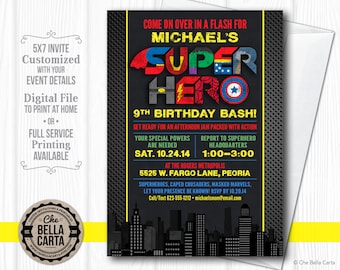 Superhero Party Customized Printable Invitation