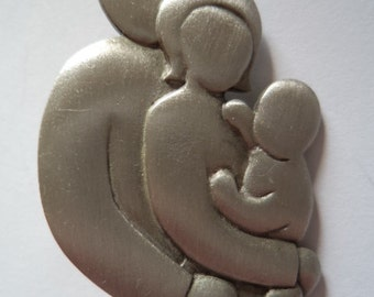 Vintage Signed JJ  Silver pewter Baby Makes Three Brooch/Pin