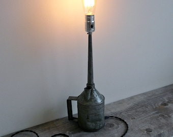 Galvanized Oil Can Accent Light, Lighted Sculpture, Functional Art