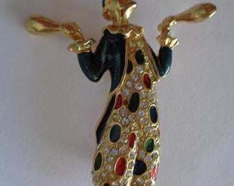 Vintage Unsigned Large Goldtone/Rhinestone Harlequin Juggling Clown Brooch/Pin