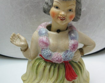 a940 Vintage Bisque Hawaiian Hula Nodder Doll Figurine