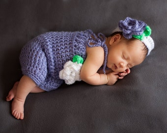 Headband and crochet romper photo prop set