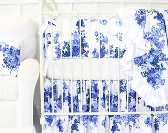 Juliet's Blue and White Rose Floral Ruffle Crib Bedding | Blue and White Floral Girl Crib Set | Floral Girl Nursery