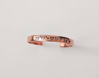 Personalized Copper Bracelet // Dainty Copper Bracelet + Custom Hand Stamped + Friendship Bracelet + Coordinate Bracelet + Feminist