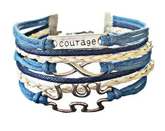 Puzzle Piece Jewelry, Autism Jewelry, Autism Bracelet, Infinity Bracelet, Inspirational Jewelry, Quote Bracelet, Teacher Gift, Gift for Her