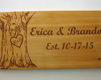 Personalized Cedar Sign Laser Engraved Wood Sign Rustic Wedding Sign Tree Carved Initials Custom Engraved