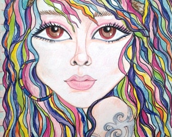 Big Eye Low Brow Fantasy Rainbow Tattoo Pop Art Print by Leslie Mehl 8.5 X 11