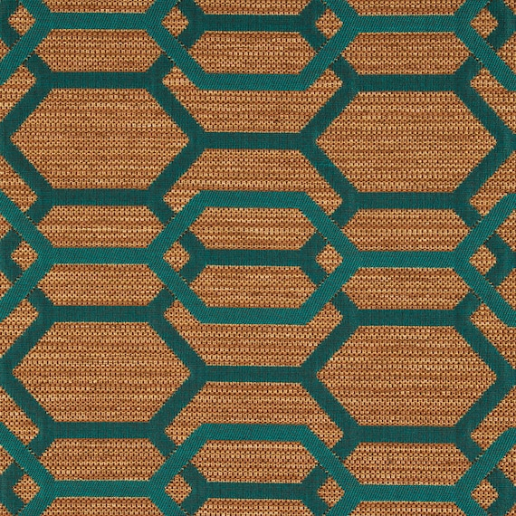 Teal Green Geometric Upholstery Fabric Teal Furniture Fabric