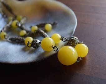 Antique Filigree Brass and Bright Yellow Glass Beaded Necklace