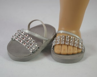 American Girl or 18 inch doll Ballerina princess party SANDALS SHOES Flipflops dressy Ribbon and Rhinestone Straps in SILVER sparkle