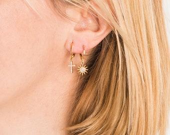 SET Pair Zirconia pave cross charm hoop earrings + single pave sun charm hoop earring , 24Kt gold plated brass · boho jewelry · amulet