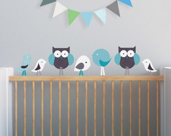 Baby Wall Decal Nursery Decor Sticker Owl Wall Decal Kids Wall Decal Black Teal. Birds and Owls Children Wall Decal