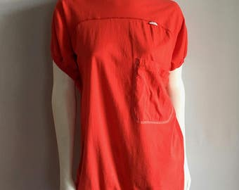 Vintage Women's 80's Gitano, T Shirt Dress, Long, Red, Cap Sleeve (L)