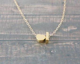 """gold Letter with heart, Alphabet, Initial  capital """"I"""" necklace, birthday gift, lucky charm, layered necklace, trendy"""