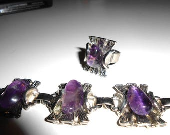 BRACELET and RING with Amethyst