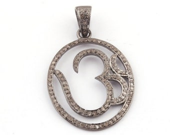 "April Sale 1 PC Pave Diamond  ""OM"" Pendant Over 925 Sterling Silver - Round Shape Pendant 32mmx24mm PD1025"
