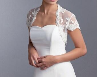 Bridal short sleeve lace bolero, Lace bridal bolero, Wedding bolero, Wedding lace jacket