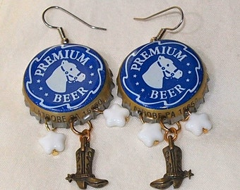 Horse Earrings, Blue, Bottle Caps, Upcycled, Cowboy Boots, Recycled, Cowgirl, Western,  Beer
