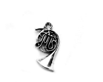 6 Silver French Horn Charms