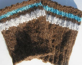 Hand Knit Boot Toppers, Boot Cuffs,  Brown Alpaca Wool Angora Boot Sock, Fashion Accessory for Women and Teen Girls