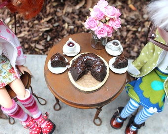 Triple Chocolate Bundt Cake with 2 Cut Slices for Blythe Barbie Playscale