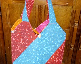 Hand made Tote - Shoulder Bag. Made with Cotton Fabric in Fibrent Colours. A Bag Made like no other :)