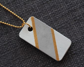 concrete necklace, location necklace, minimalist necklace, graphic necklace, golden necklace