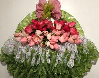Big Chunky Spring Basket of Tulips, spring wreath, Spring Wreath with Pink Tulips, Front Door Wreath, Handmade Wreath, Easter Wreath