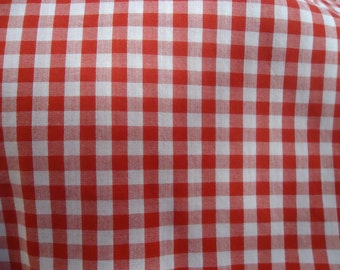 3 Yards of red and white gingham checked cotton fabric 44  inches wide
