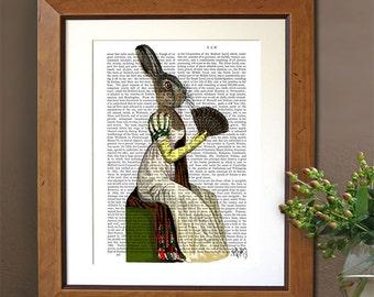 Miss Hare Print - Digital Art Hare Illustration Jane Austen Style Rabbit Picture Hare Painting birthday gift for mom regency jane austen