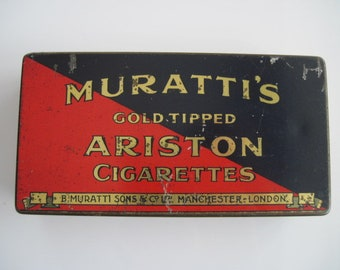 Muratti's Ariston Gold Tipped  cigarette tin (50/empty) -  By B Muratti & Sons  c.1905/40