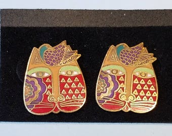 "Vintage Laurel Burch Earrings, Laurel Burch ""Mariah"" earrings, pierced earrings,"