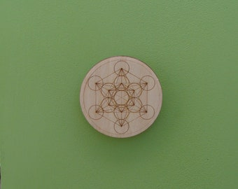 Metatron's Cube fridge magnet Wood Engraved Sacred Geometry, strong, refrigerator, fridge, burning man, small gift ceramic, wooden