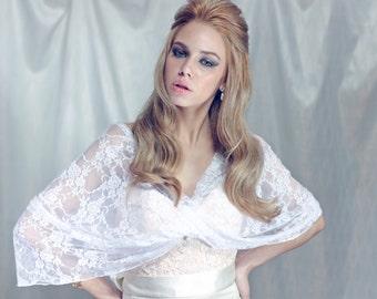 White Lace Bridal Shawl (4 Options Top- Shawl, Twisted Shawl, Shrug And A Circle Scarf) White Wedding Shawl, White Lace Bridal Shrug CL102