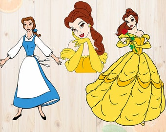 Belle princess Svg Bundle, Beauty and the beast Cutfiles, Belle svg, dxf files for Cricut & cutting machines, Beauty and the beast svg