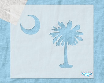 Palmetto Tree and Moon Stencil / South Carolina Flag Stencil