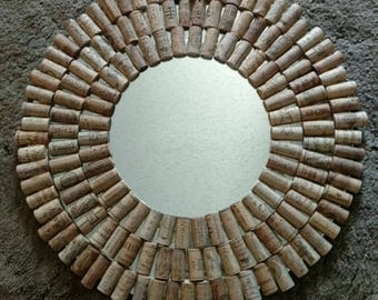 Wine Cork Mirror-Handmade Cork Mirror-Handmade Wine Cork Mirror-Cork Framed Mirror-Wine Cork Crafts- Winecork Crafts-Wine Cork Art