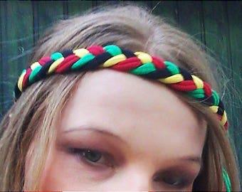 Rasta Headband Reggae Headband Hippie Coachella Headband Bracelet Rasta Braided Headband Rastafarian Headband Burning Man Festival Hedband