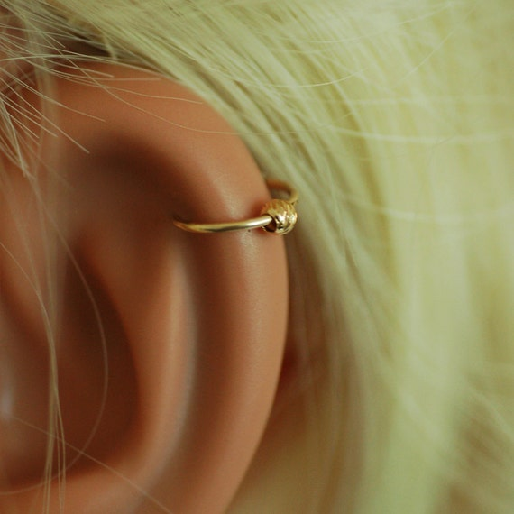 tiny ball cartilage hoop gold hoop earring cartilage ring