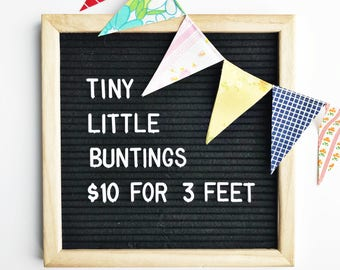 Mini Bunting Banner - Colorful Flag Garland - Party Decoration - Pennant Flag Banner - Fabric Bunting - Tiny Bunting - Vintage Fabric
