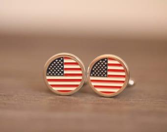 American Flag Cufflinks, Vintage Cuff Links, Men's Gift, Vintage Patriotic Cufflinks