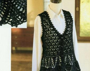 Crochet vest etsy crochet pattern pdf for womens crochet vest in japanese diagram pattern instant download ladies dt1010fo