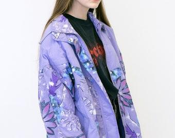 VINTAGE Purple Floral Print Lightweight Shell Retro Jacket