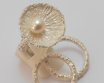 Akoya Pearl Engagement Ring With Matching Wedding Bands Set.