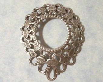 Domed Filigree Ribbon Pendant with 18mm Open Center Oxidized Silver