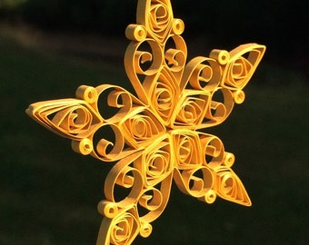 Quilled Gold Metallic Star Christmas Ornament or Window Decoration